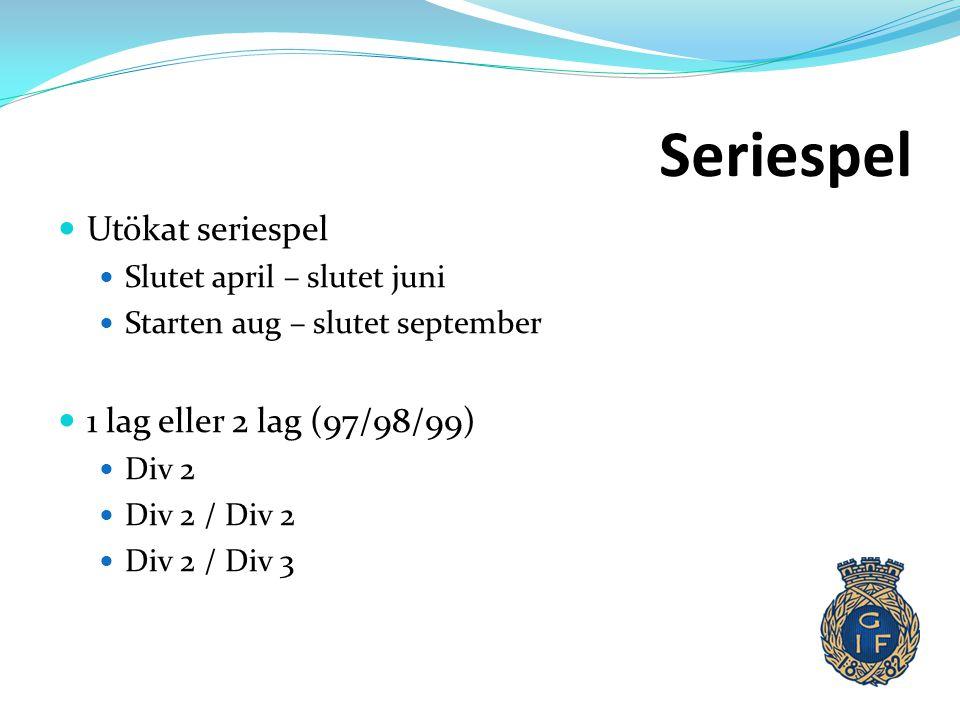 Seriespel  Utökat seriespel  Slutet april – slutet juni  Starten aug – slutet september  1 lag eller 2 lag (97/98/99)  Div 2  Div 2 / Div 2  Di