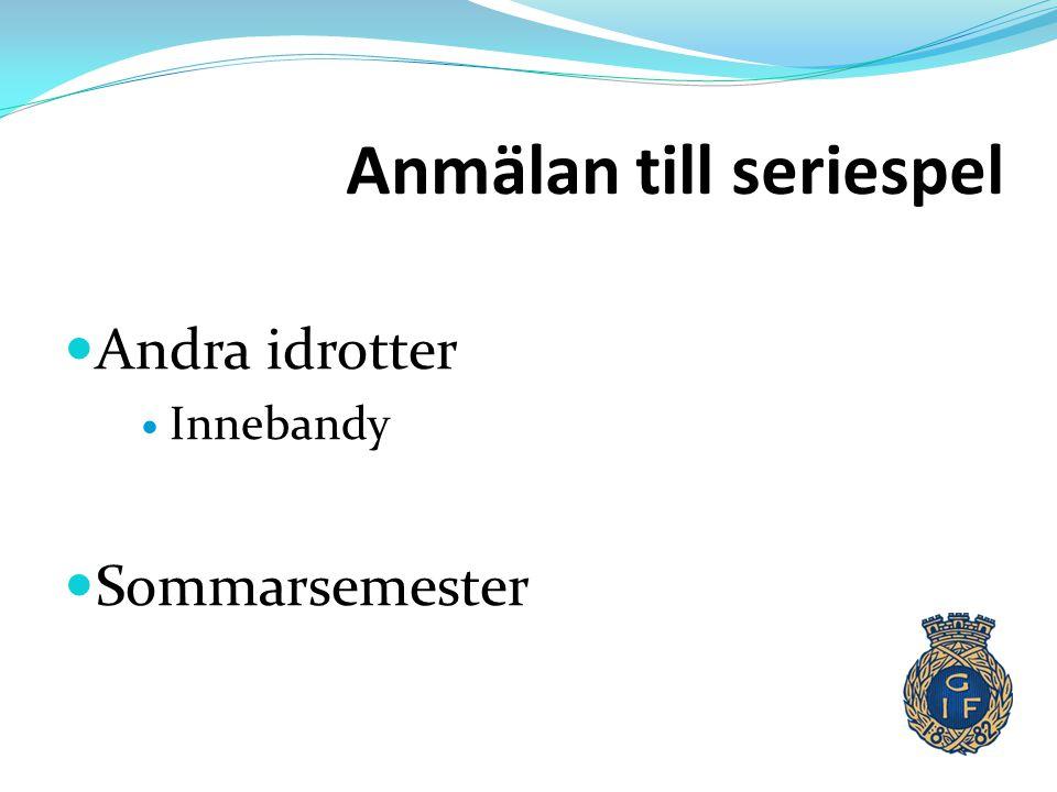 Anmälan till seriespel  Andra idrotter  Innebandy  Sommarsemester