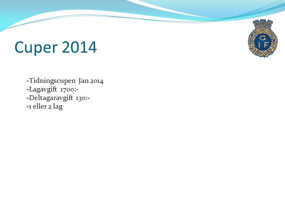 Cuper 2014 -Tidningscupen Jan 2014 -Lagavgift 1700:- -Deltagaravgift 130:- -1 eller 2 lag