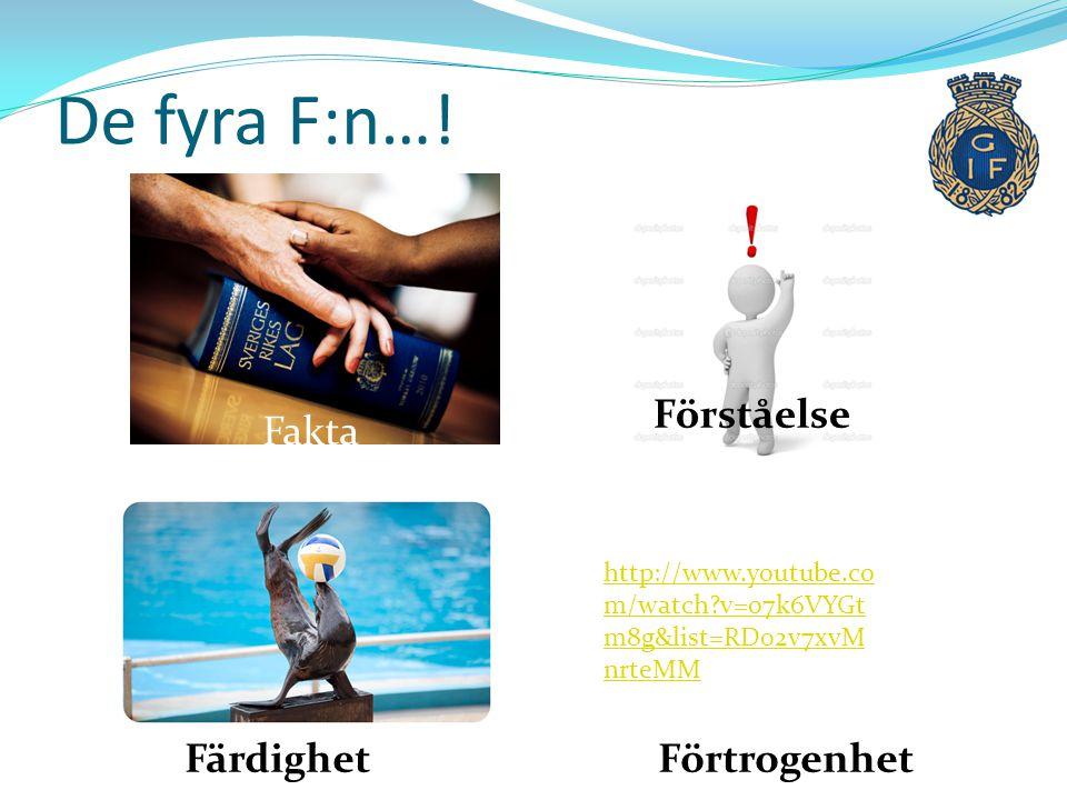 Fakta Förståelse FärdighetFörtrogenhet http://www.youtube.co m/watch?v=o7k6VYGt m8g&list=RD02v7xvM nrteMM De fyra F:n…!