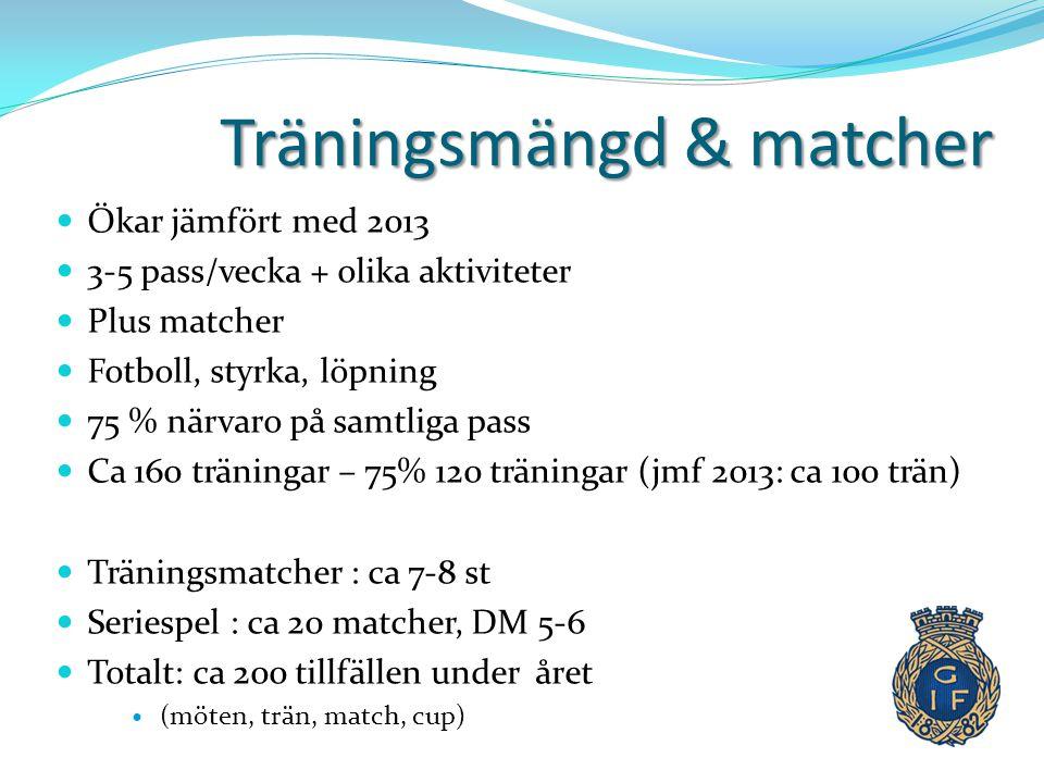 Träningsmängd & matcher  Ökar jämfört med 2013  3-5 pass/vecka + olika aktiviteter  Plus matcher  Fotboll, styrka, löpning  75 % närvaro på samtl