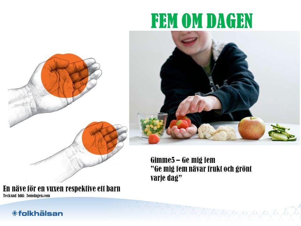 """En näve för en vuxen respektive ett barn Tecknad bild: 5omdagen.com FEM OM DAGEN Gimme5 – Ge mig fem """"Ge mig fem nävar frukt och grönt varje dag"""""""