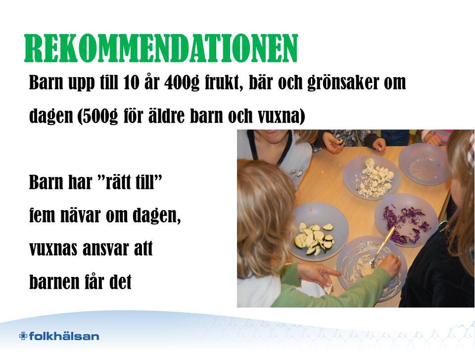 """REKOMMENDATIONEN Barn upp till 10 år 400g frukt, bär och grönsaker om dagen (500g för äldre barn och vuxna) Barn har """"rätt till"""" fem nävar om dagen, v"""