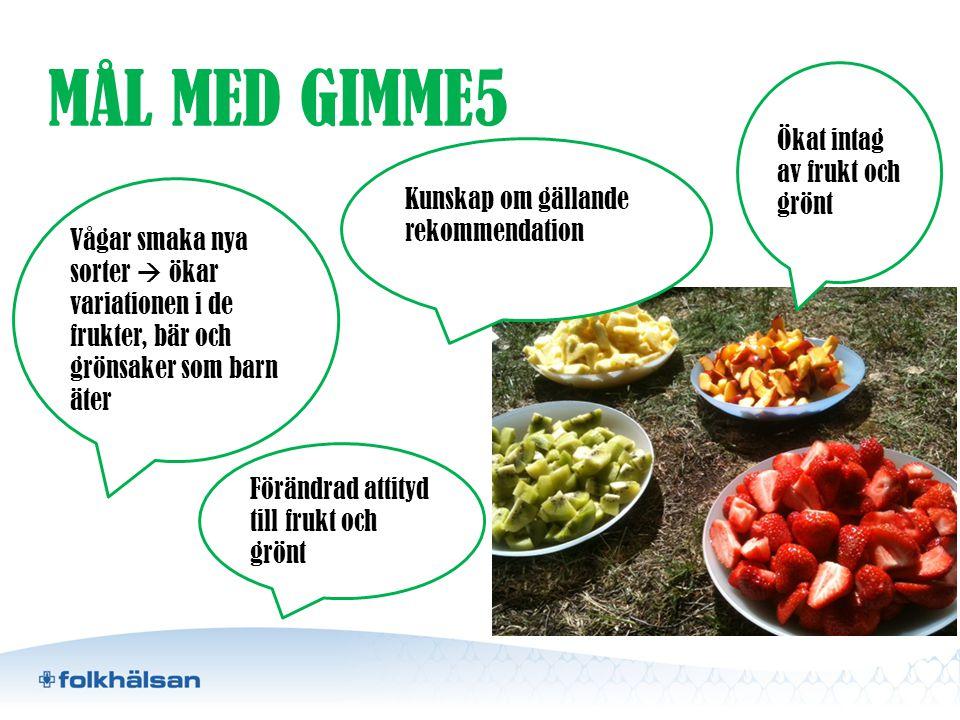 MÅL MED GIMME5 Vågar smaka nya sorter  ökar variationen i de frukter, bär och grönsaker som barn äter Ökat intag av frukt och grönt Kunskap om gällan