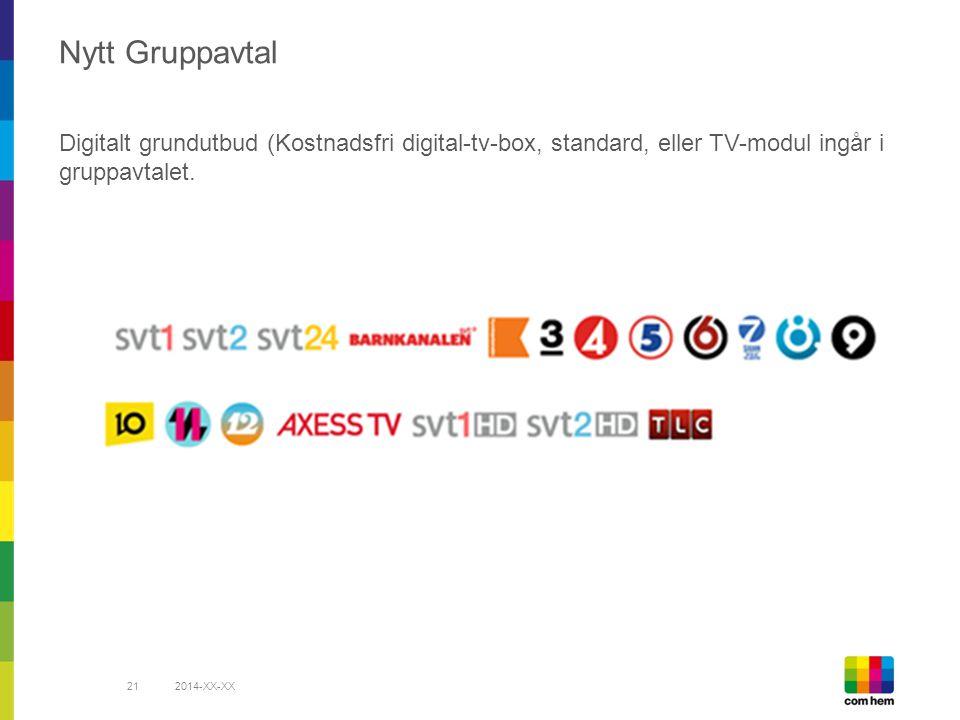 2014-XX-XX21 Nytt Gruppavtal Digitalt grundutbud (Kostnadsfri digital-tv-box, standard, eller TV-modul ingår i gruppavtalet.