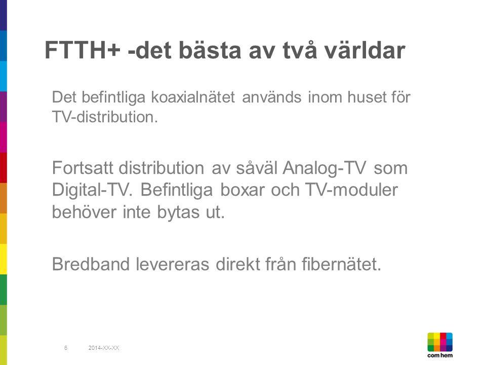 FTTH+ -det bästa av två världar Det befintliga koaxialnätet används inom huset för TV-distribution.
