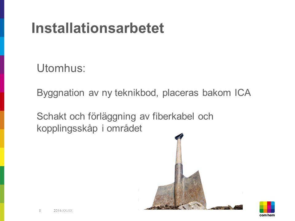 Installationsarbetet 2014-XX-XX8 Utomhus: Byggnation av ny teknikbod, placeras bakom ICA Schakt och förläggning av fiberkabel och kopplingsskåp i området