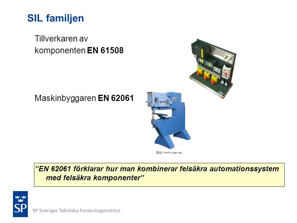 """SIL familjen Tillverkaren av komponenten EN 61508 Maskinbyggaren EN 62061 """"EN 62061 förklarar hur man kombinerar felsäkra automationssystem med felsäk"""