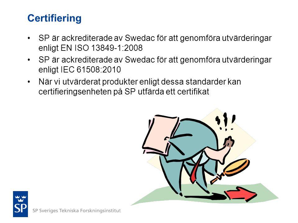 Certifiering •SP är ackrediterade av Swedac för att genomföra utvärderingar enligt EN ISO 13849-1:2008 •SP är ackrediterade av Swedac för att genomför