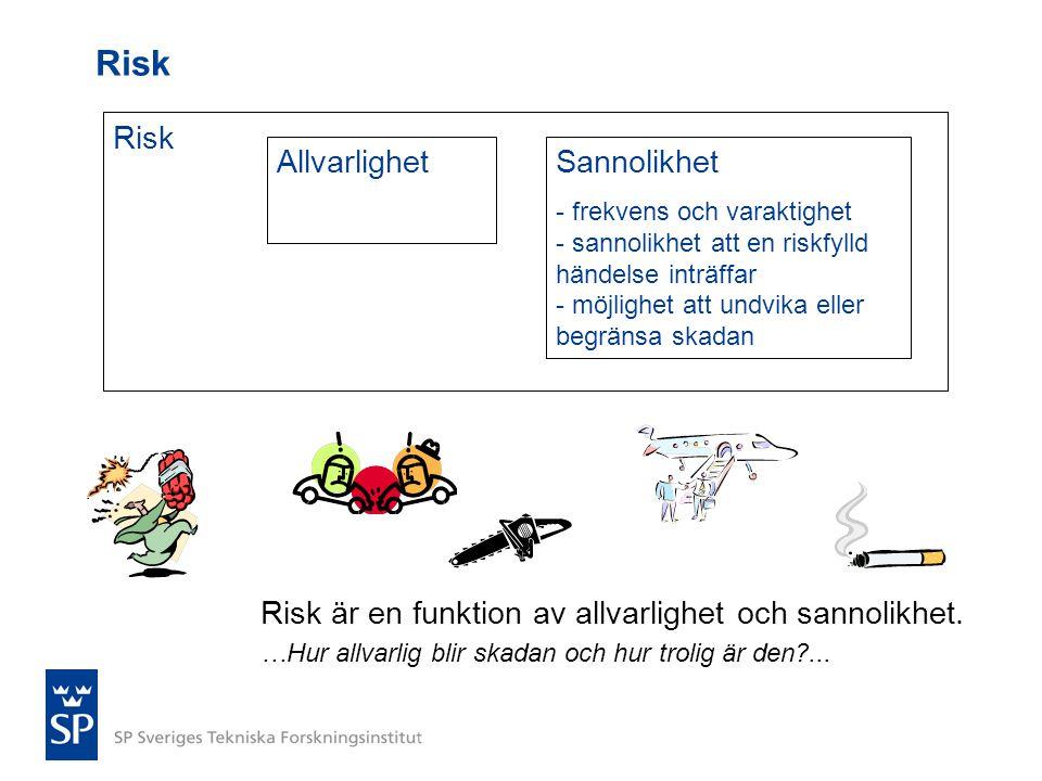 Risk AllvarlighetSannolikhet - frekvens och varaktighet - sannolikhet att en riskfylld händelse inträffar - möjlighet att undvika eller begränsa skada