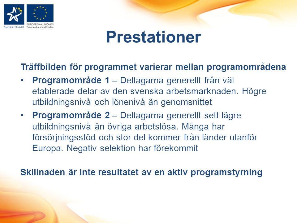 Träffbilden för programmet varierar mellan programområdena •Programområde 1 – Deltagarna generellt från väl etablerade delar av den svenska arbetsmarknaden.