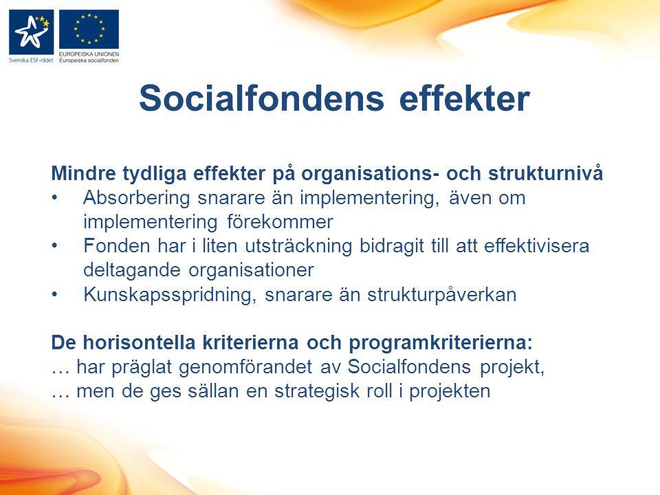 Socialfondens effekter Mindre tydliga effekter på organisations- och strukturnivå •Absorbering snarare än implementering, även om implementering förekommer •Fonden har i liten utsträckning bidragit till att effektivisera deltagande organisationer •Kunskapsspridning, snarare än strukturpåverkan De horisontella kriterierna och programkriterierna: … har präglat genomförandet av Socialfondens projekt, … men de ges sällan en strategisk roll i projekten