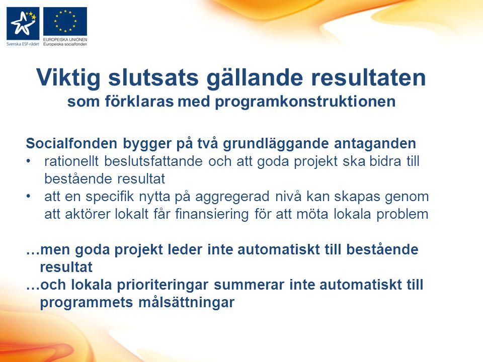 Viktig slutsats gällande resultaten som förklaras med programkonstruktionen Socialfonden bygger på två grundläggande antaganden •rationellt beslutsfat