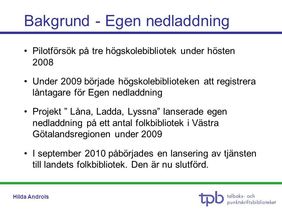 Hilda Androls Bakgrund - Egen nedladdning •Pilotförsök på tre högskolebibliotek under hösten 2008 •Under 2009 började högskolebiblioteken att registre