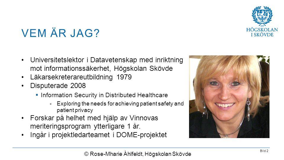 Bild 2 •Universitetslektor i Datavetenskap med inriktning mot informationssäkerhet, Högskolan Skövde •Läkarsekreterareutbildning 1979 •Disputerade 200