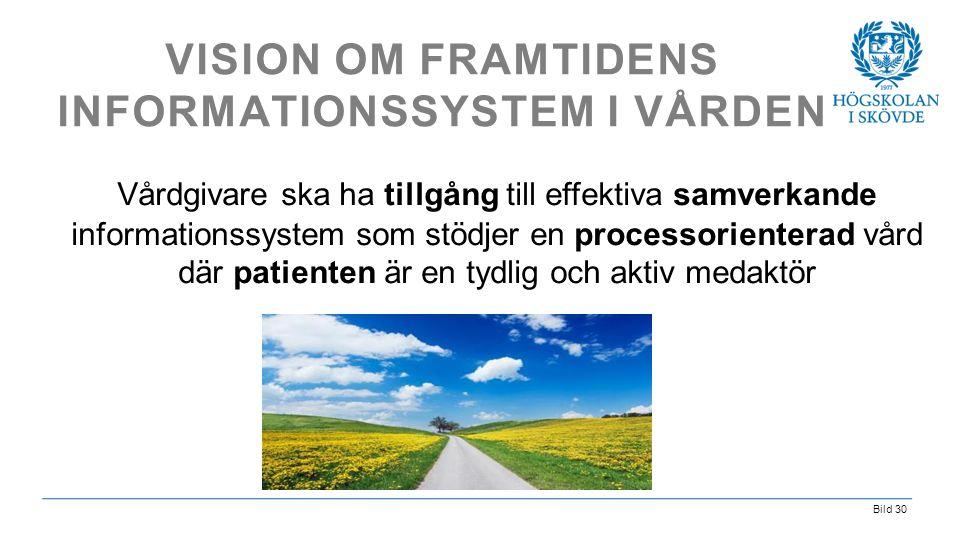 Bild 30 VISION OM FRAMTIDENS INFORMATIONSSYSTEM I VÅRDEN Vårdgivare ska ha tillgång till effektiva samverkande informationssystem som stödjer en proce