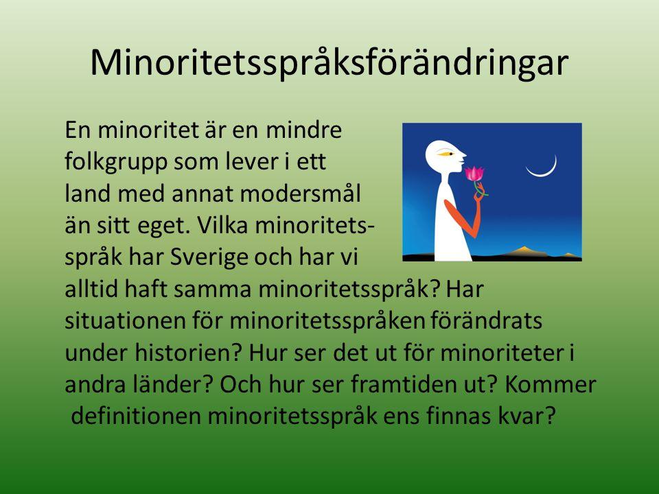 Minoritetsspråksförändringar En minoritet är en mindre folkgrupp som lever i ett land med annat modersmål än sitt eget. Vilka minoritets- språk har Sv