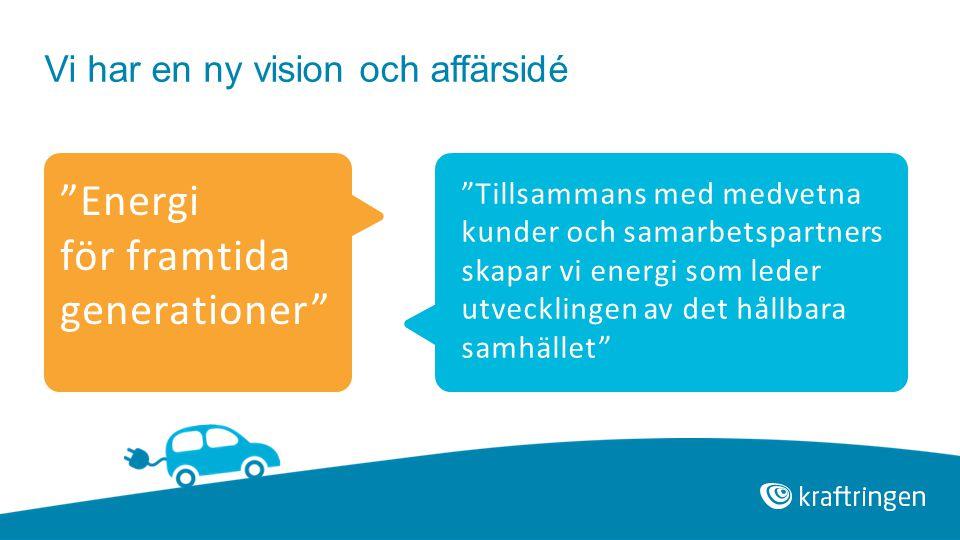 """Vi har en ny vision och affärsidé """"Energi för framtida generationer"""" """"Tillsammans med medvetna kunder och samarbetspartners skapar vi energi som leder"""