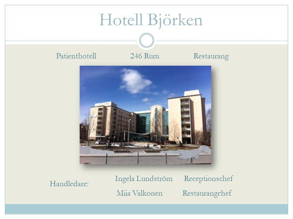 Hotell Björken Patienthotell 246 Rum Restaurang Ingela Lundström Receptionschef Miia Valkonen Restaurangchef Handledare: