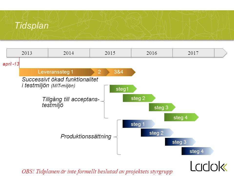 Tidsplan 2013 2014 2015 2016 2017 Successivt ökad funktionalitet i testmiljön (MIT-miljön) Tillgång till acceptans- testmiljö Produktionssättning OBS.