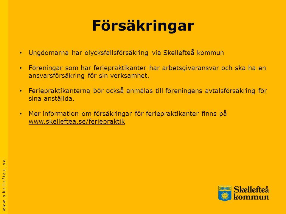 w w w. s k e l l e f t e a. s e Försäkringar • Ungdomarna har olycksfallsförsäkring via Skellefteå kommun • Föreningar som har feriepraktikanter har a