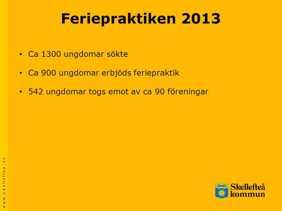 w w w. s k e l l e f t e a. s e Feriepraktiken 2013 • Ca 1300 ungdomar sökte • Ca 900 ungdomar erbjöds feriepraktik • 542 ungdomar togs emot av ca 90