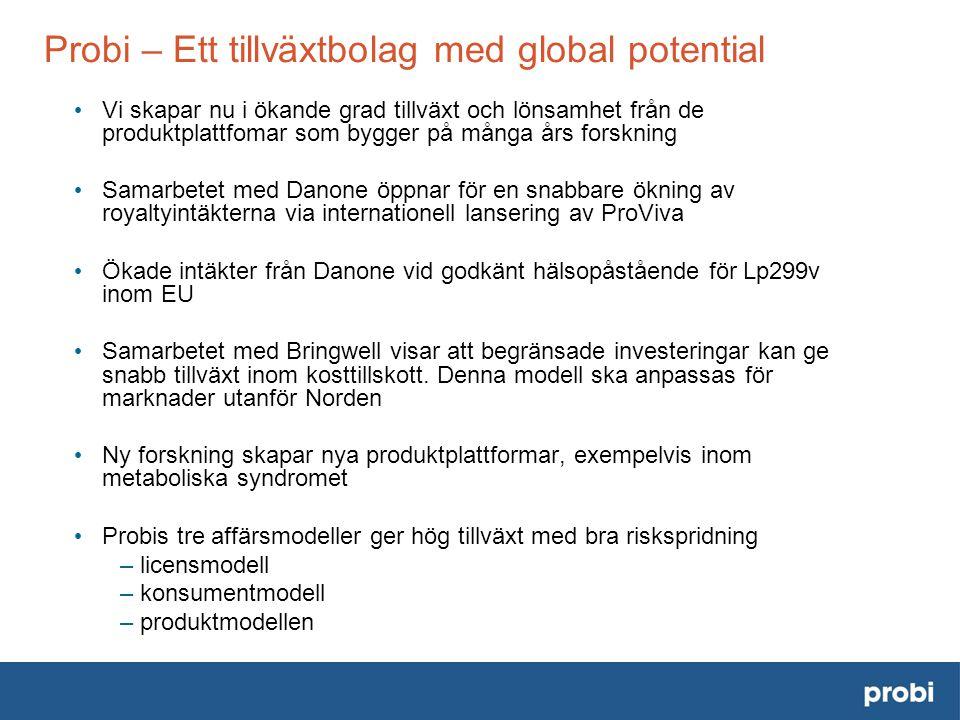 Probi – Ett tillväxtbolag med global potential • Vi skapar nu i ökande grad tillväxt och lönsamhet från de produktplattfomar som bygger på många års forskning • Samarbetet med Danone öppnar för en snabbare ökning av royaltyintäkterna via internationell lansering av ProViva • Ökade intäkter från Danone vid godkänt hälsopåstående för Lp299v inom EU • Samarbetet med Bringwell visar att begränsade investeringar kan ge snabb tillväxt inom kosttillskott.