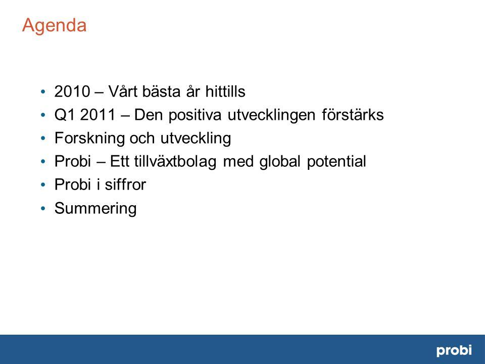 Agenda • 2010 – Vårt bästa år hittills • Q1 2011 – Den positiva utvecklingen förstärks • Forskning och utveckling • Probi – Ett tillväxtbolag med global potential • Probi i siffror • Summering