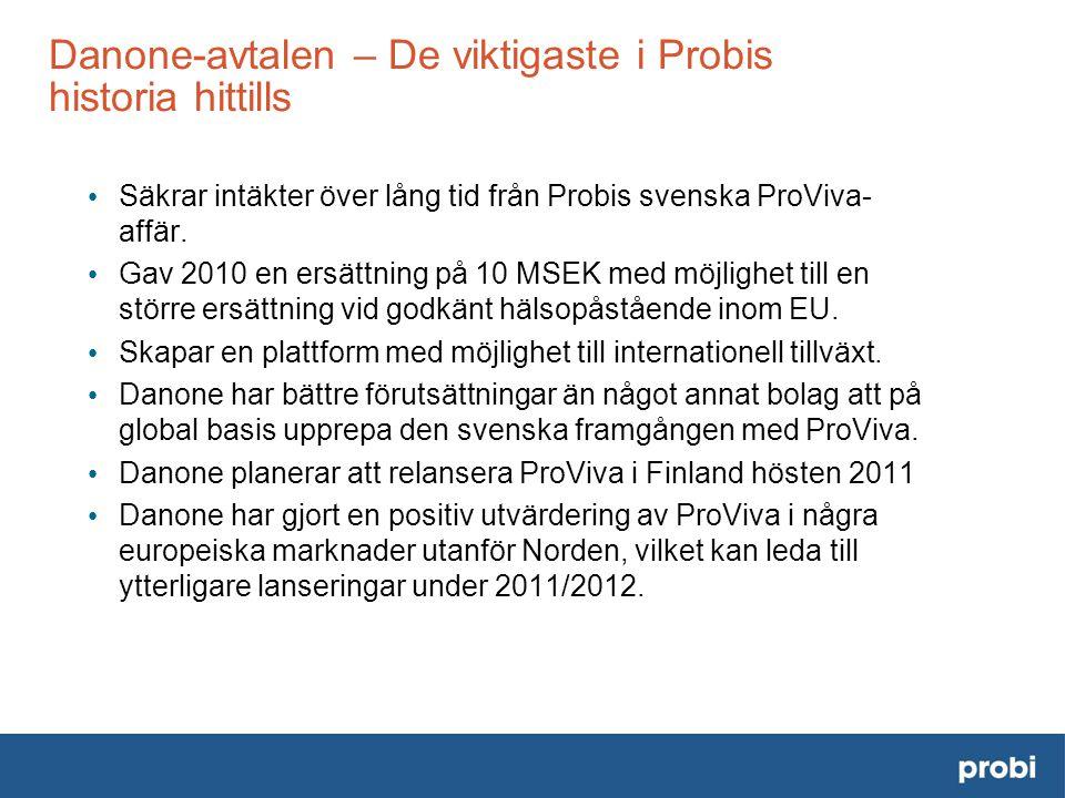 Danone-avtalen – De viktigaste i Probis historia hittills • Säkrar intäkter över lång tid från Probis svenska ProViva- affär.
