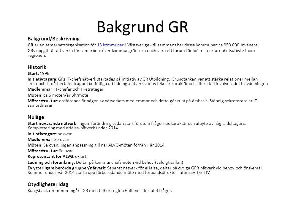 Bakgrund GR Bakgrund/Beskrivning GR är en samarbetsorganisation för 13 kommuner i Västsverige - tillsammans har dessa kommuner ca 950.000 invånare.13