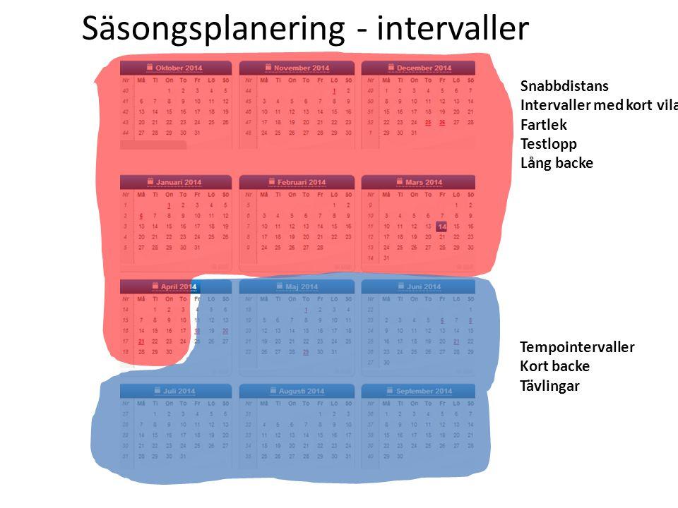 Säsongsplanering - intervaller - Snabbdistans Intervaller med kort vila Fartlek Testlopp Lång backe Tempointervaller Kort backe Tävlingar