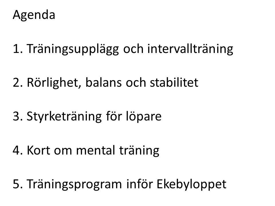 Agenda 1. Träningsupplägg och intervallträning 2. Rörlighet, balans och stabilitet 3. Styrketräning för löpare 4. Kort om mental träning 5. Träningspr