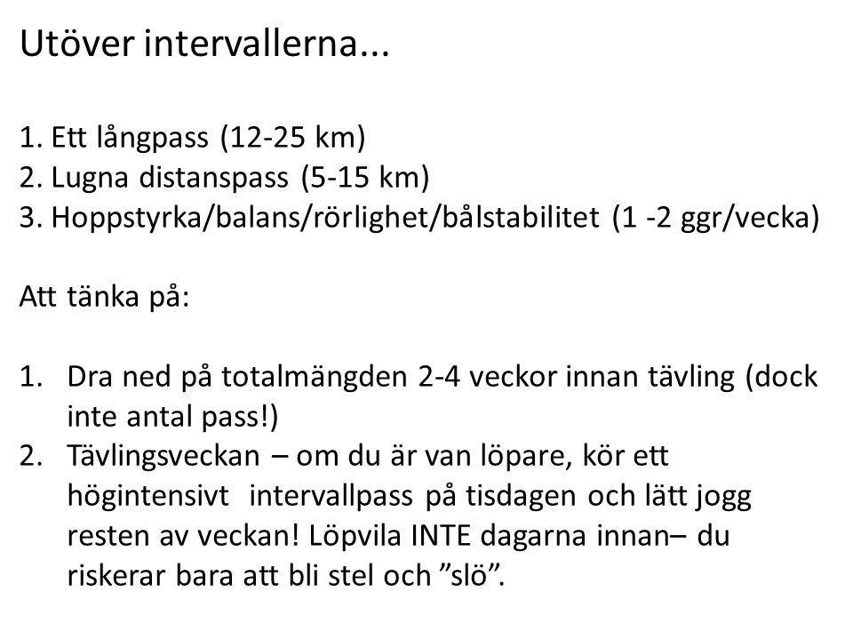 1.Ett långpass (12-25 km) 2.Lugna distanspass (5-15 km) 3.Hoppstyrka/balans/rörlighet/bålstabilitet (1 -2 ggr/vecka) Att tänka på: 1.Dra ned på totalm