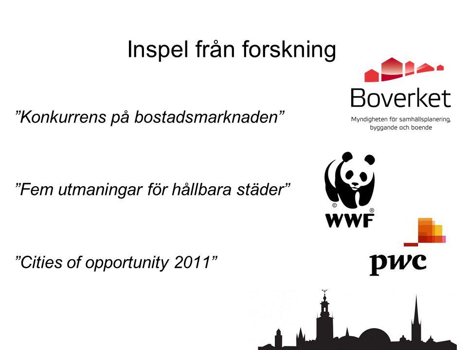 Inspel från forskning Konkurrens på bostadsmarknaden Fem utmaningar för hållbara städer Cities of opportunity 2011