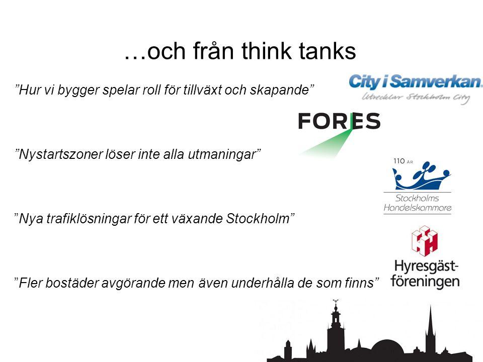 …och från think tanks Hur vi bygger spelar roll för tillväxt och skapande Nystartszoner löser inte alla utmaningar Nya trafiklösningar för ett växande Stockholm Fler bostäder avgörande men även underhålla de som finns