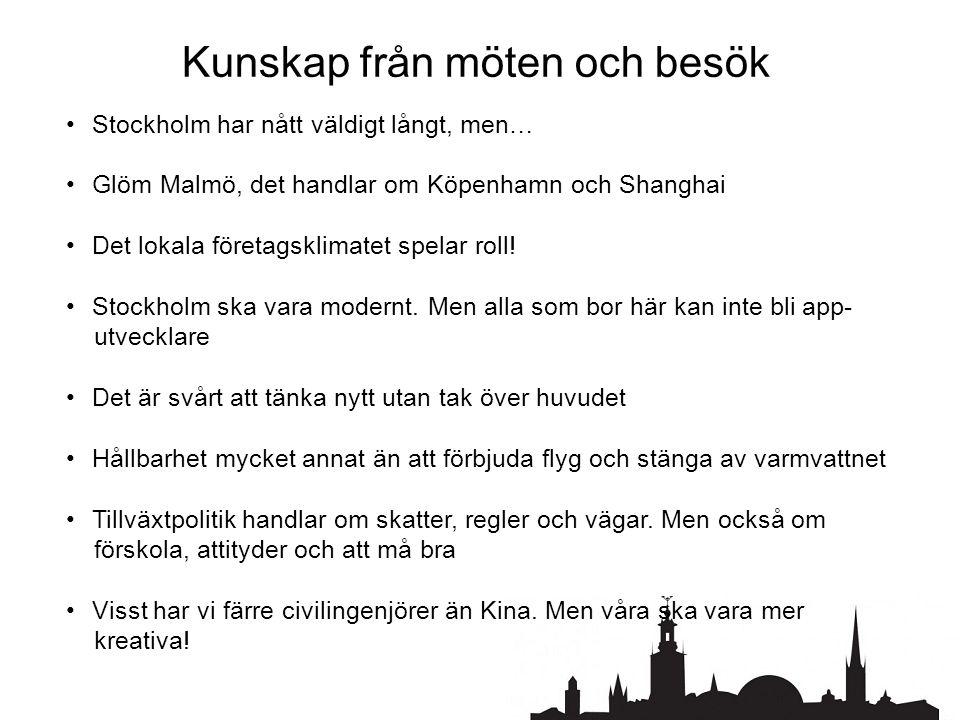 Kunskap från möten och besök • Stockholm har nått väldigt långt, men… • Glöm Malmö, det handlar om Köpenhamn och Shanghai • Det lokala företagsklimatet spelar roll.