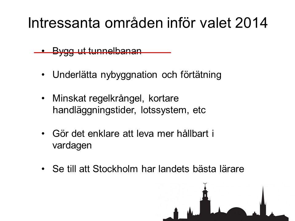 Intressanta områden inför valet 2014 •Bygg ut tunnelbanan •Underlätta nybyggnation och förtätning •Minskat regelkrångel, kortare handläggningstider, lotssystem, etc •Gör det enklare att leva mer hållbart i vardagen •Se till att Stockholm har landets bästa lärare