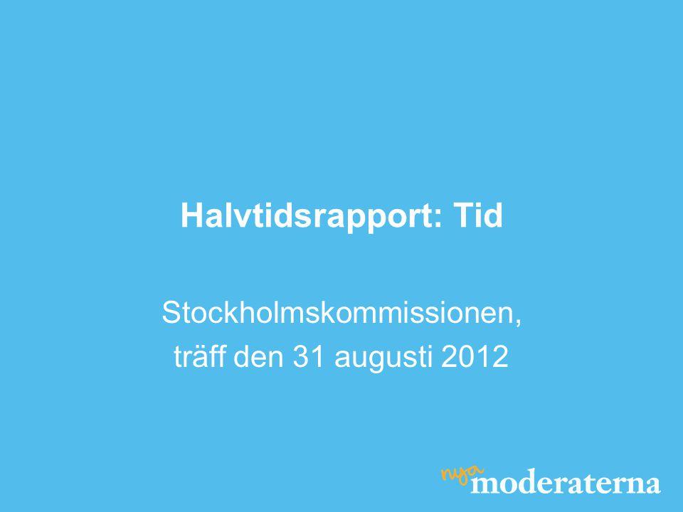 Halvtidsrapport: Tid Stockholmskommissionen, träff den 31 augusti 2012