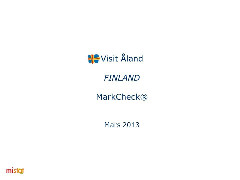 MarkCheck® Visit Åland - Mars 2013 Finland Kännedom och omdöme om Åland som resmål Kännedom om olika resmål (ganska+mycket väl) Sverige49% Estland44% Åland25% Norge14% Ryssland8% Besökt…i snitt under de senaste tre åren Estland2,51 Sverige1,79 Ryssland0,55 Norge0,45 Åland0,45 Omdöme (5=mkt bra, 1=mkt dåligt) Sverige3,74 Norge3,64 Estland3,55 Åland3,52 Ryssland2,55 2 Hur attraktiva är resmålen (5=mycket, 1=inte alls) Norge3,5 Estland3,49 Sverige3,43 Åland3,25 Ryssland2,59 Kännedom Var fjärde tillfrågad på den finska marknaden har god kännedom om Åland som resmål.