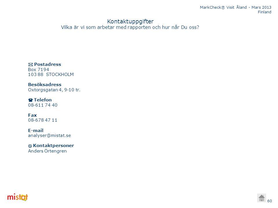 MarkCheck® Visit Åland - Mars 2013 Finland 60 Kontaktuppgifter Vilka är vi som arbetar med rapporten och hur når Du oss?  Postadress Box 7194 103 88