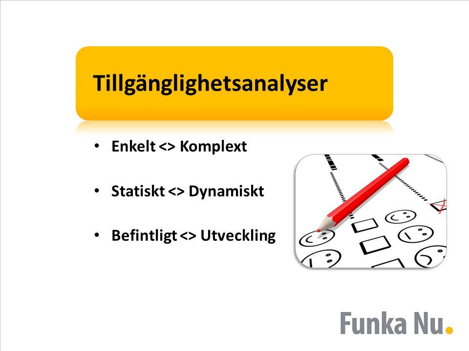 Tillgänglighetsanalyser • Enkelt <> Komplext • Statiskt <> Dynamiskt • Befintligt <> Utveckling