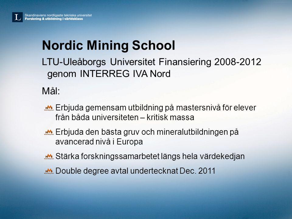 Nordic Mining School LTU-Uleåborgs Universitet Finansiering 2008-2012 genom INTERREG IVA Nord Mål: Erbjuda gemensam utbildning på mastersnivå för elev