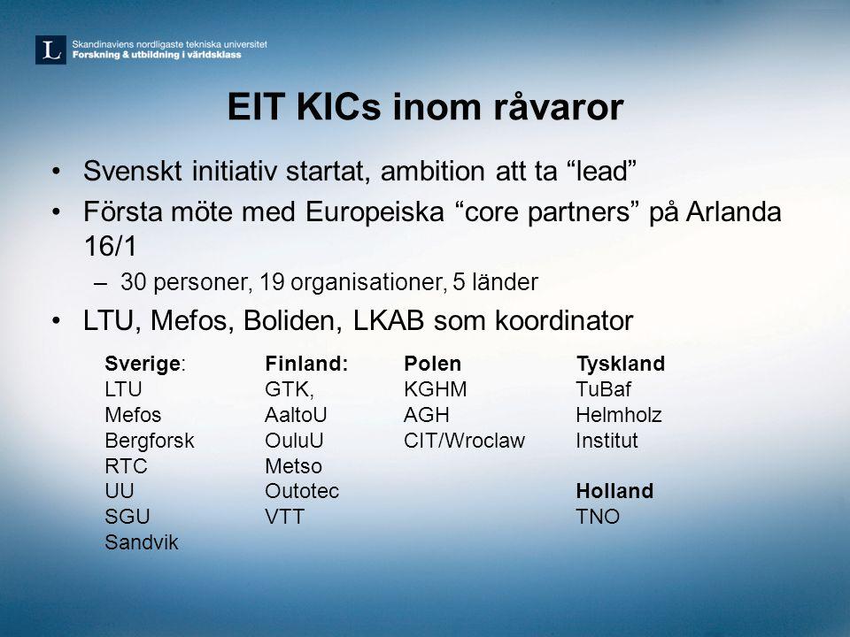 """EIT KICs inom råvaror •Svenskt initiativ startat, ambition att ta """"lead"""" •Första möte med Europeiska """"core partners"""" på Arlanda 16/1 –30 personer, 19"""