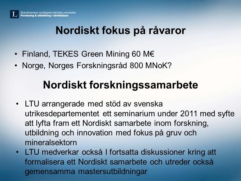 Nordiskt fokus på råvaror •Finland, TEKES Green Mining 60 M€ •Norge, Norges Forskningsråd 800 MNoK? Nordiskt forskningssamarbete •LTU arrangerade med