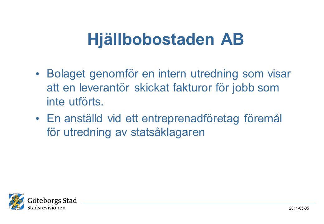 Hjällbobostaden AB • Bolaget genomför en intern utredning som visar att en leverantör skickat fakturor för jobb som inte utförts. • En anställd vid et