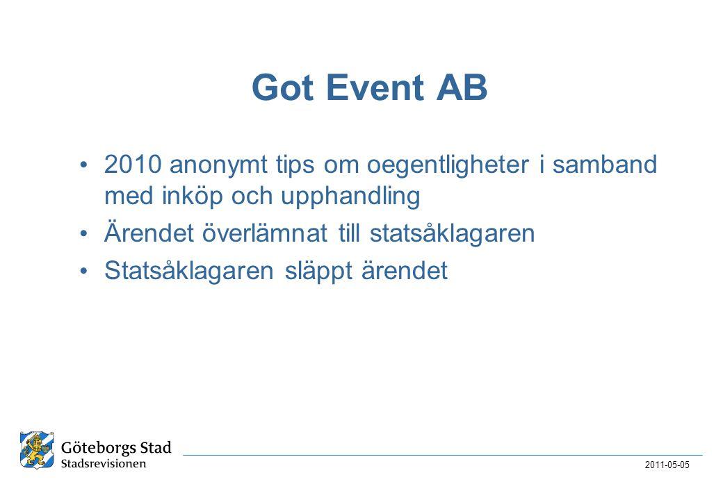 Got Event AB • 2010 anonymt tips om oegentligheter i samband med inköp och upphandling • Ärendet överlämnat till statsåklagaren • Statsåklagaren släppt ärendet 2011-05-05