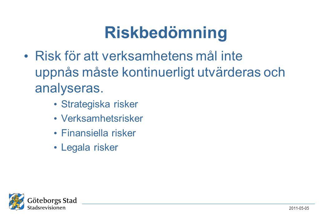 2011-05-05 Riskbedömning • Risk för att verksamhetens mål inte uppnås måste kontinuerligt utvärderas och analyseras. • Strategiska risker • Verksamhet
