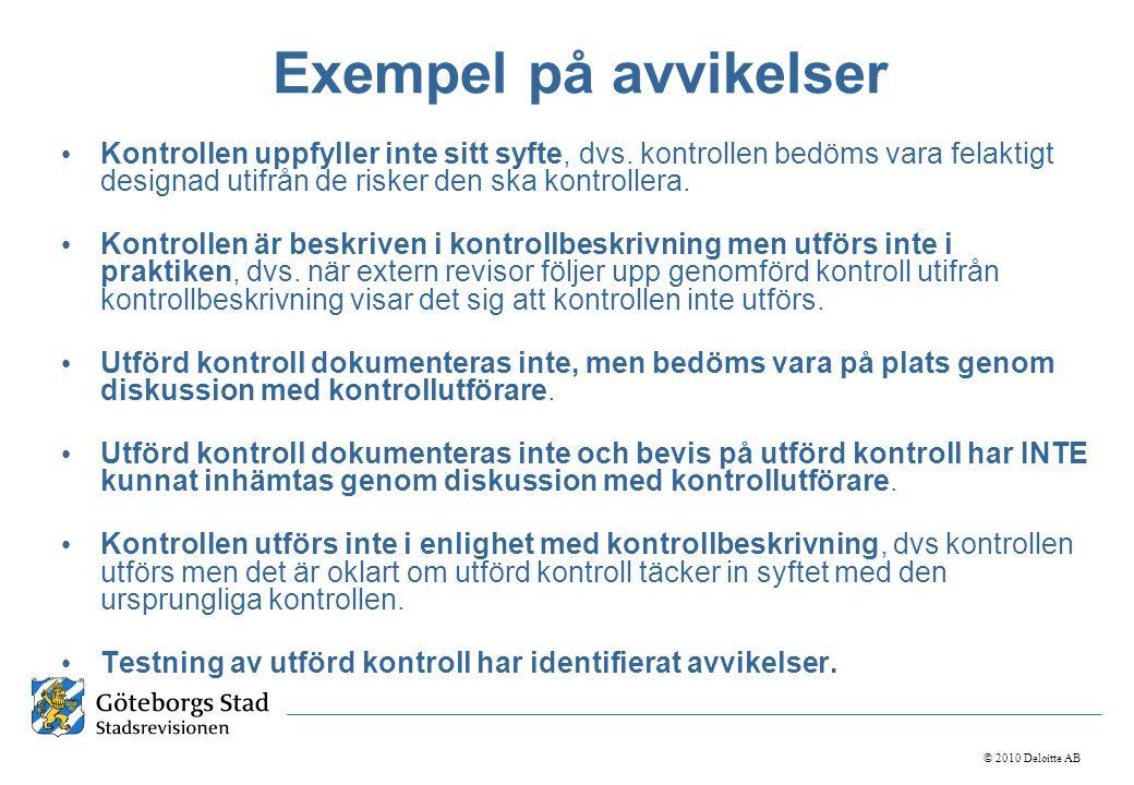 © 2010 Deloitte AB Exempel på avvikelser • Kontrollen uppfyller inte sitt syfte, dvs. kontrollen bedöms vara felaktigt designad utifrån de risker den