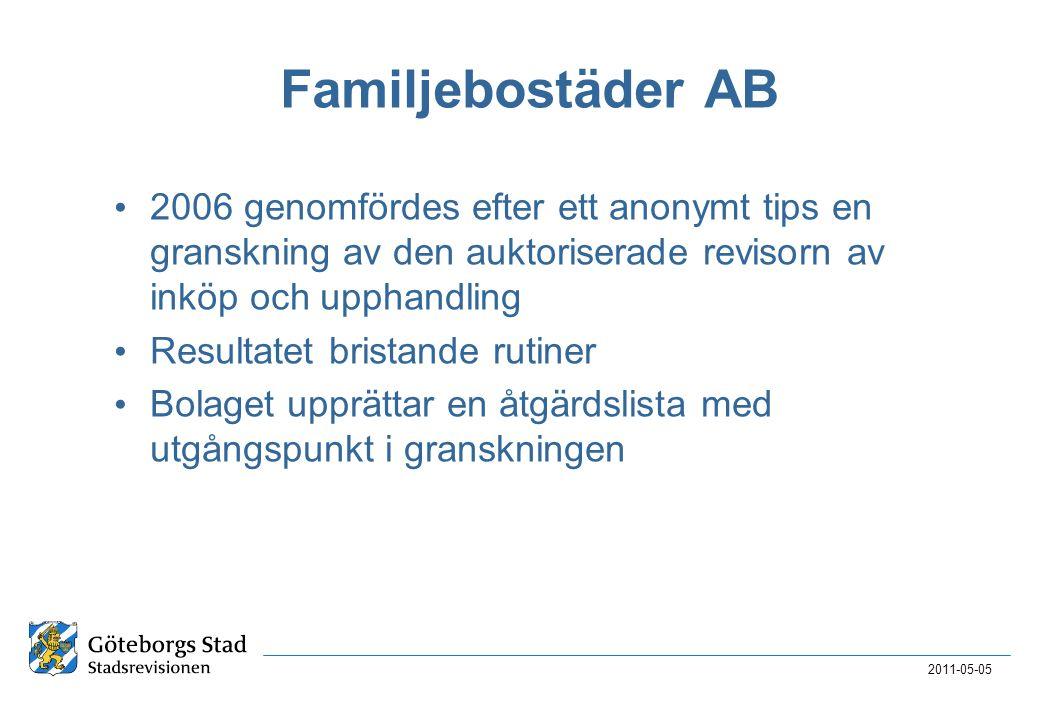 Familjebostäder AB • 2006 genomfördes efter ett anonymt tips en granskning av den auktoriserade revisorn av inköp och upphandling • Resultatet bristande rutiner • Bolaget upprättar en åtgärdslista med utgångspunkt i granskningen 2011-05-05