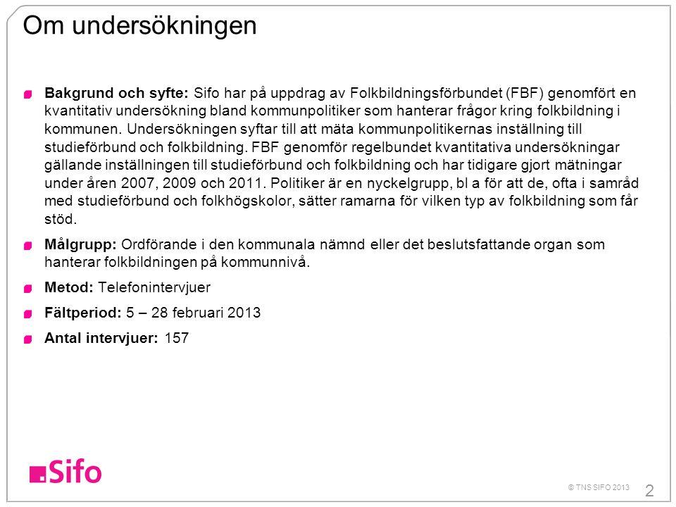 2 © TNS SIFO 2013 Om undersökningen Bakgrund och syfte: Sifo har på uppdrag av Folkbildningsförbundet (FBF) genomfört en kvantitativ undersökning blan